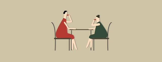 2 women dining at a table