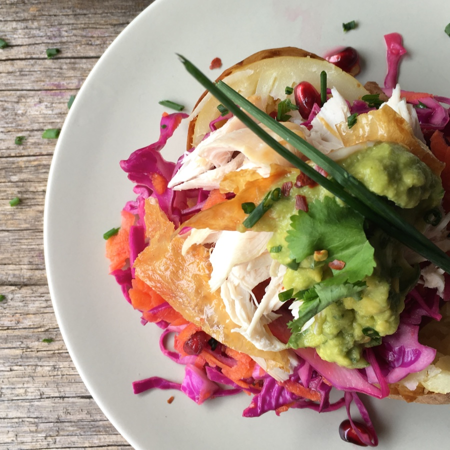 Low FODMAP Stuffed Potatoes with Pomegranate Slaw and Tangy Avocado Dressing