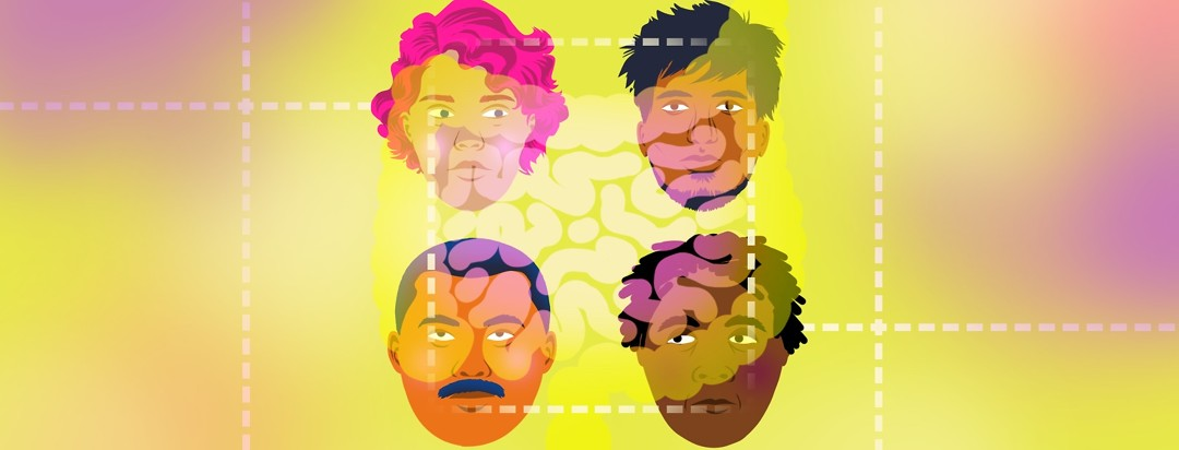 4 faces of people of varying races and ethnicities are arranged in a square with the shape of intestines lightly overlaid on top of them and a dotted line connecting the 4 faces.