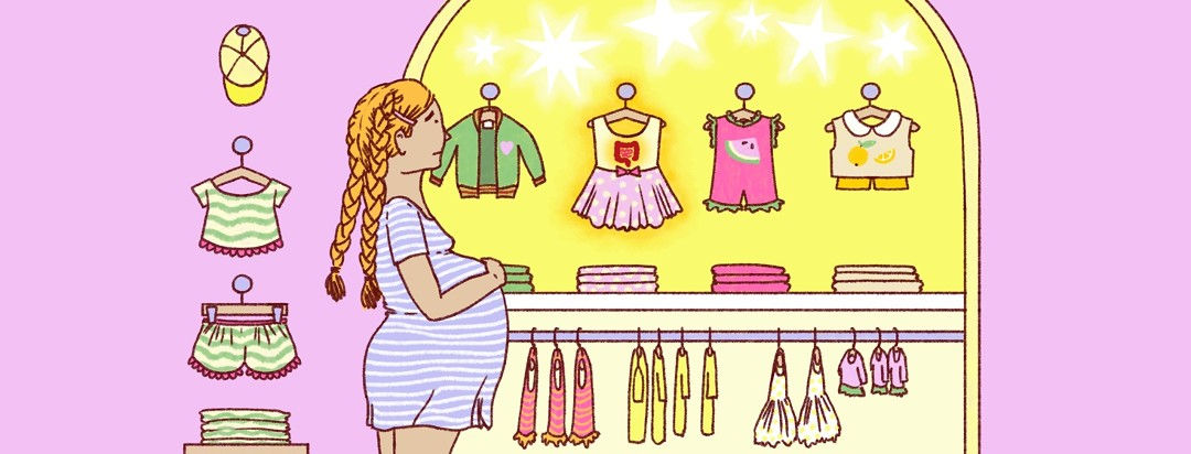 A woman looks nervously at baby clothes featuring an inflamed GI tract.