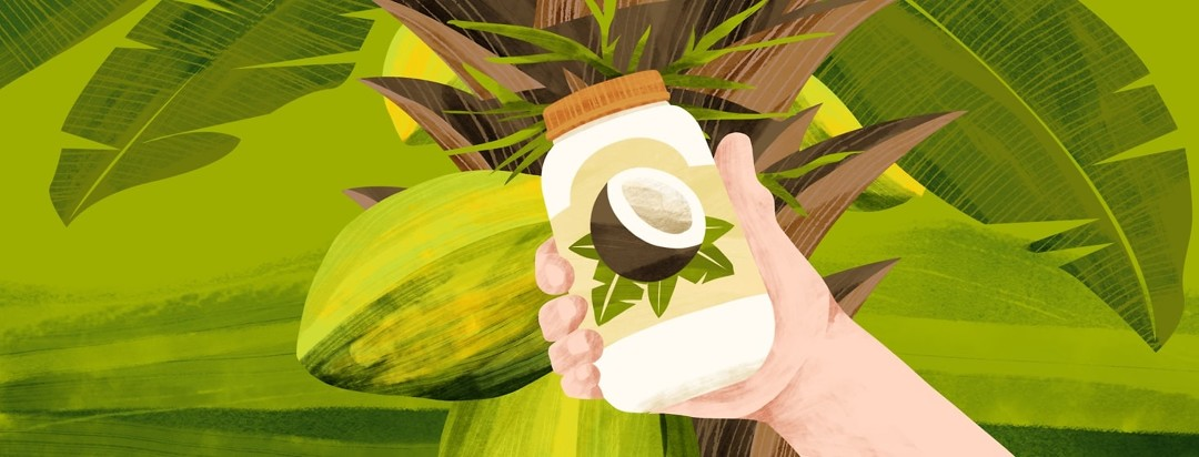 A hand holds up a jar of coconut oil next to a coconut tree.