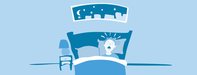 A person sleeping in bed with their mouth open