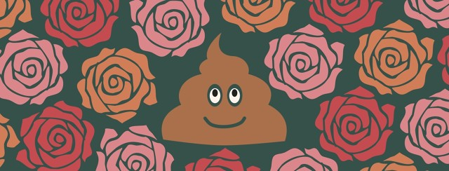 Smiling poo symbol surrounded by roses