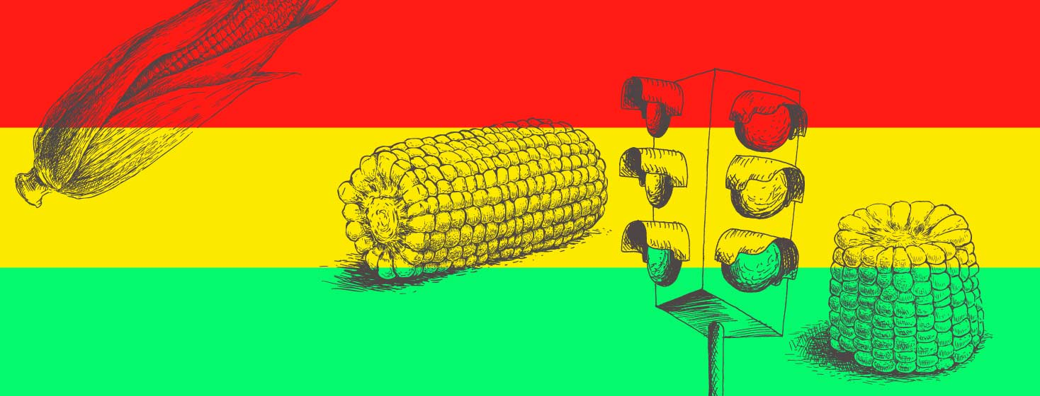 Red, Yellow, green stipes across the entire image with a traffic light in the front and corn on the cob surrounding the background.
