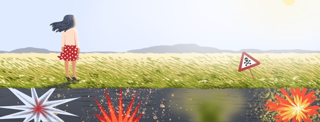 A person stands at the edge of a field that appears serene from above but the viewer can see that below lies undetectable and unexpected potential explosions.