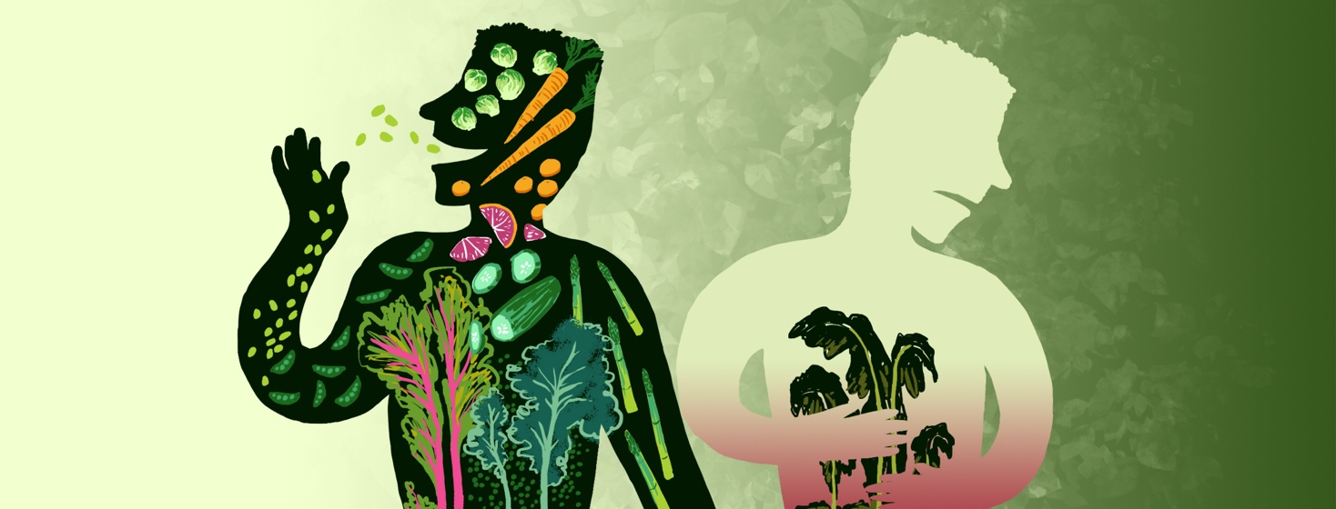 The silhouette of one man is happy and filled with strong, fresh fruits and vegetables while a second silhouette of the same man is filled with wilted greens and the position is of someone in discomfort.