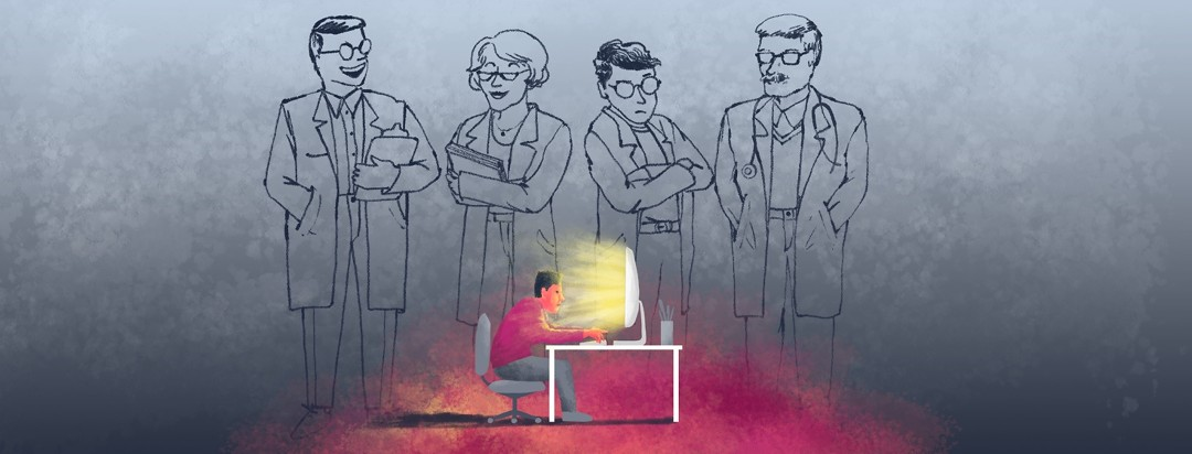 A man sits at a computer, furiously typing while the images of uncaring doctors loom over him.