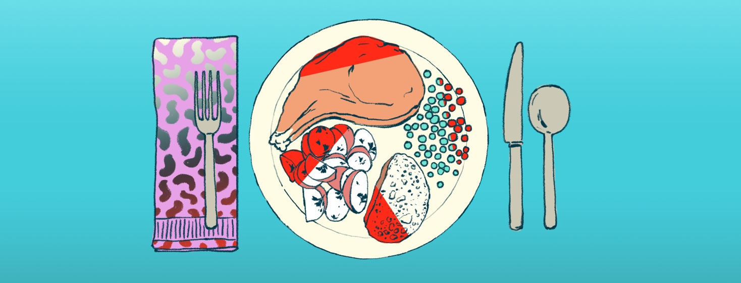 A plate of food shows part of each portion marked out in red, indicating that if the person eating this meal were to eat the full portion (including the red) it may result in discomfort.