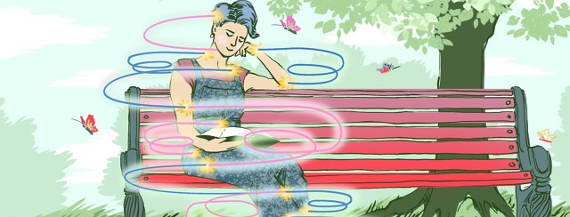 A person sits and reads on a park bench while brightly colored lines swirl around them connecting at pain points, suggesting that there are two related forces causing discomfort.
