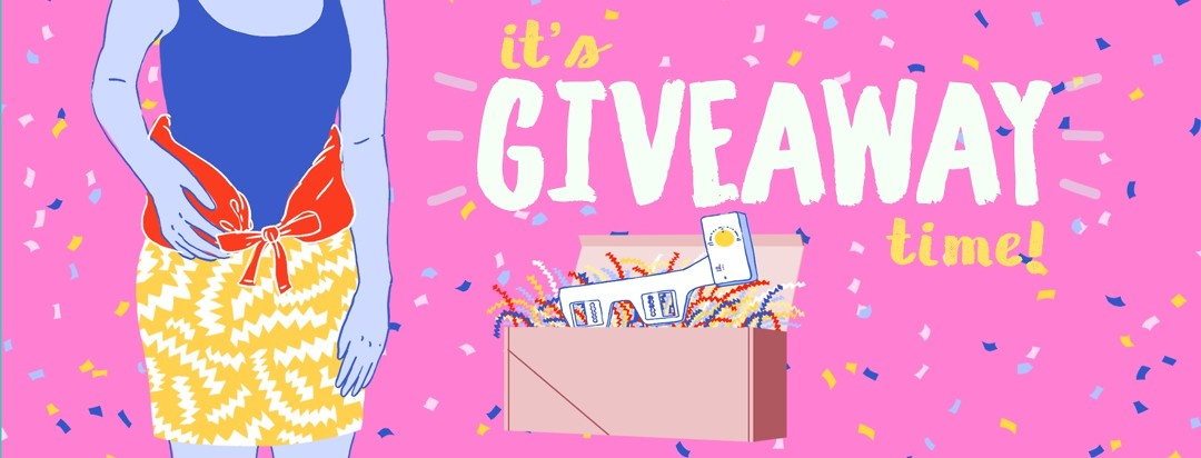 It's giveaway time! Giveaway items are illustrated against a festive, confetti background.