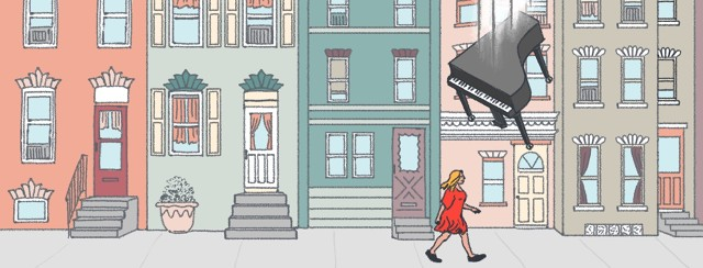 A woman is walking on a city street, not knowing that she is about to be right under a piano falling from the sky.