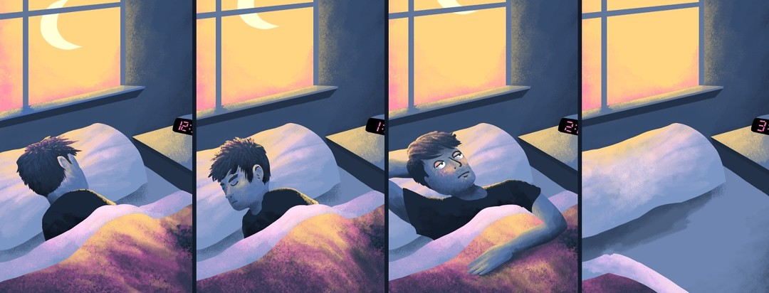 A man in seen in 3 stages of trying to get to sleep before he gives up and gets out of bed to go to the bathroom.