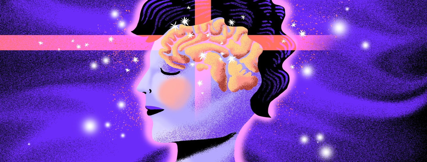 A woman in profile has beams of light permeating and intersecting over her brain, which you can see shining through her head.