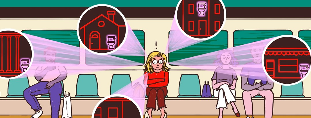 A panicked-looking woman on a train frantically searches her mind for where she will find the nearest bathroom in the city.