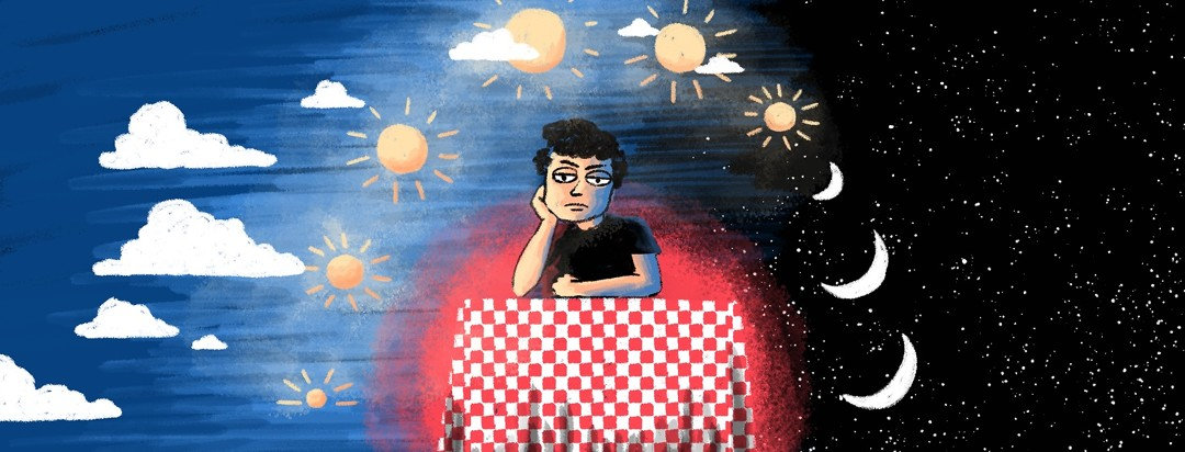 A frustrated man sits at a table as the sun & moon rise and set around him.