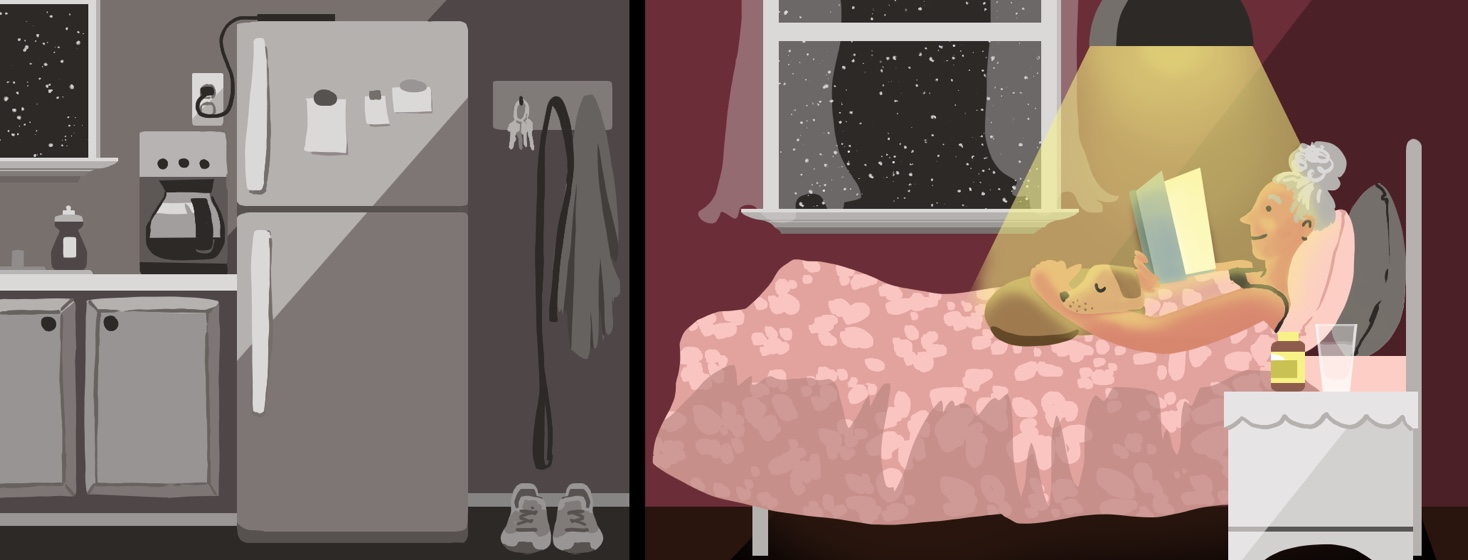 On the left, a dark room contains a items used during the day that have been put to rest in preparation for sleep (coffee maker, sneakers, electronic devices, etc). On the left, a woman is shown reading in bed under soft light.
