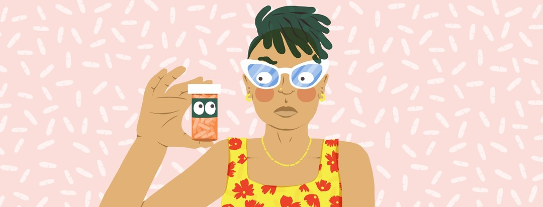 A woman looks skeptically at a bottle of pills she hold in her right hand as it stares back just a as skeptically at her.