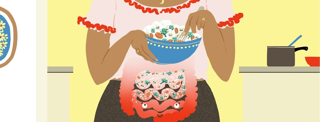 A person eats rice with sauteed veggies from a bowl, and you can see the food going down through her GI tract which is bright red at the bottom but gradually becoming less bright as the food goes down.