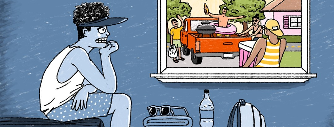 An anxious man sits inside with a cooler, beach towel, and sunglasses sit in front of him as he looks out the window to his friends preparing to load up a truck and head to a lakeside BBQ.
