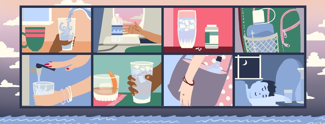 8 different scenarios of ways to hydrate are shown in a grid atop a background of a sky at dusk with calm water in the bottom of the frame.