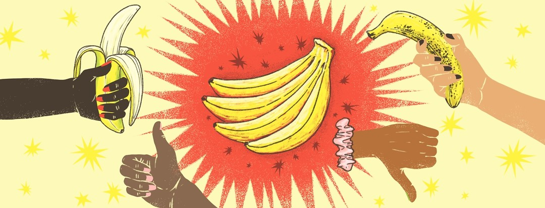 A bunch of bananas are highlighted from behind by a red burst. To the left is an open, yellow and green banana and a thumbs up, and to the right is a freckled, overripe banana with a thumbs down.