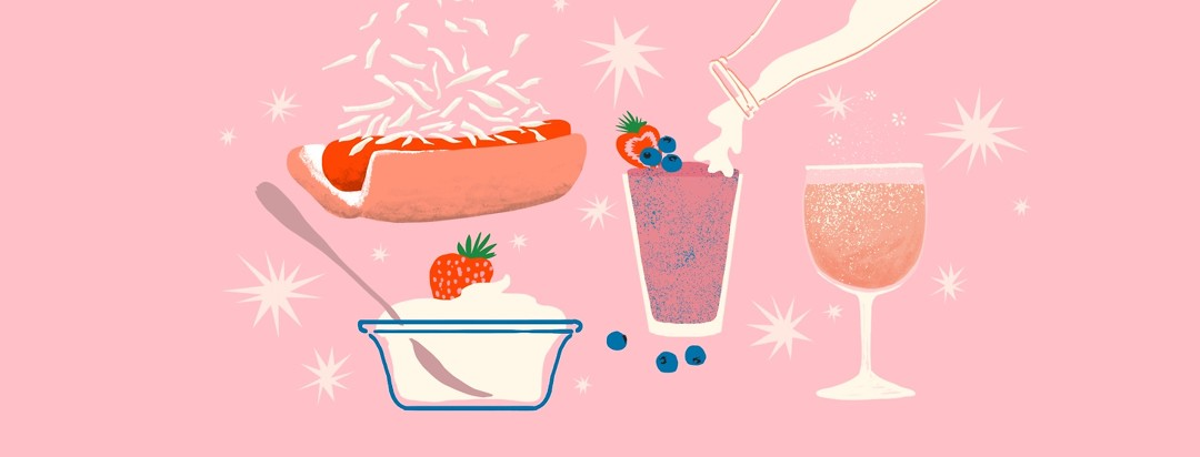 A hot dog with sauerkraut, a smoothie with kefir pouring into the glass, a wine glass full of kombucha, and a glass cup of lactose-free yogurt are all together on a pink background.