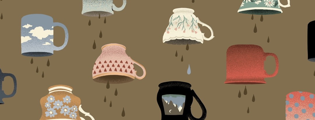 An array of decorative mugs and teacups are turned upside-down, and coffee seems to be dripping out, save for one blue tear drop in the middle.