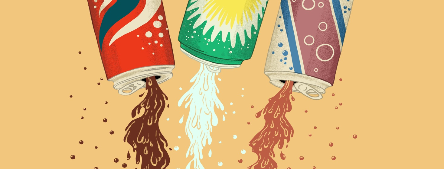 Three cans of soda are upside down, dumping out their liquid contents.