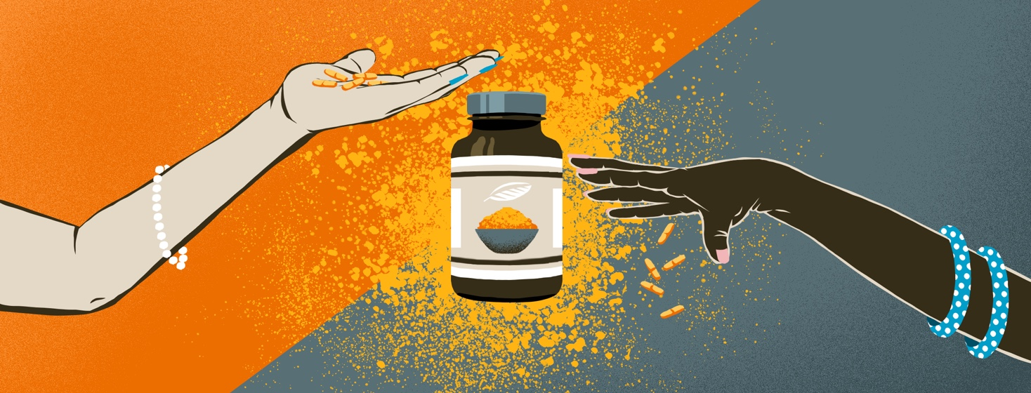 On the left, an arm extends with the hand holding several turmeric tablets. On the right, a different arm drops turmeric tablets. In the middle, a bottle of turmeric tablets is set against ground turmeric behind it.