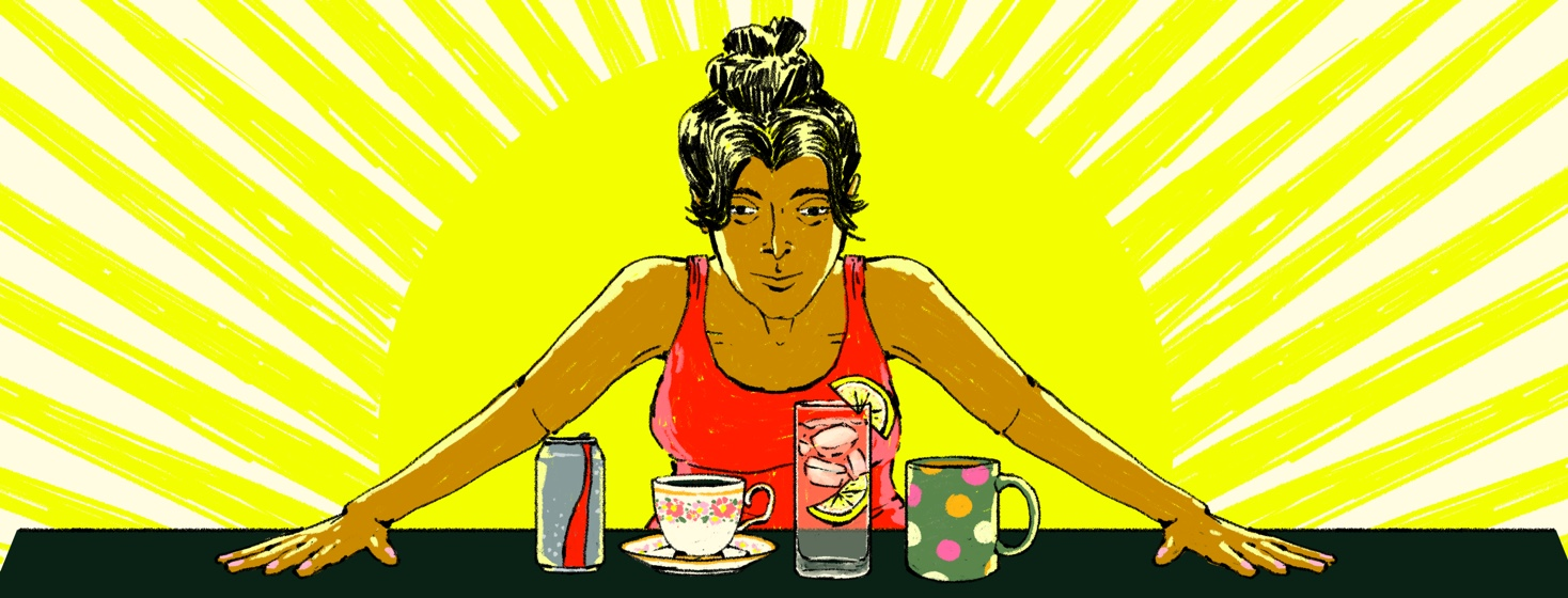 A woman contemplates several drink options in front of her: Diet Coke, black tea, lemon water, and coffee. In the background is an abstract sun.