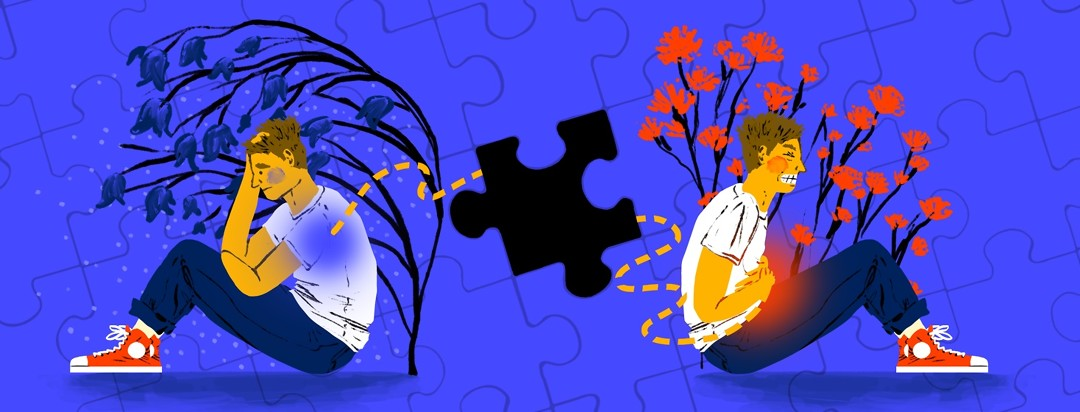 The same man sits in two different positions, one looking depressed, the other showing obvious stomach pain. Between them is a dotted line with the middle part omitted as a missing puzzle piece.