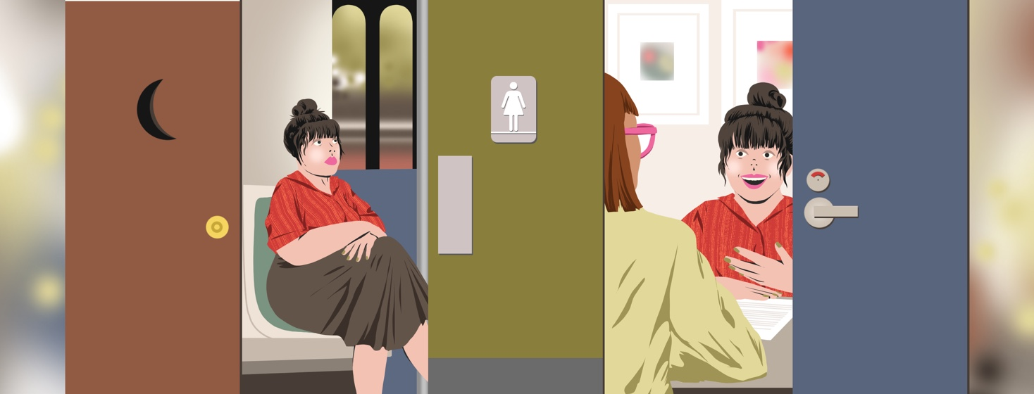 A woman is show in several different stages of activity during her day - riding the train, at a job interview, each scene separated by a bathroom door.
