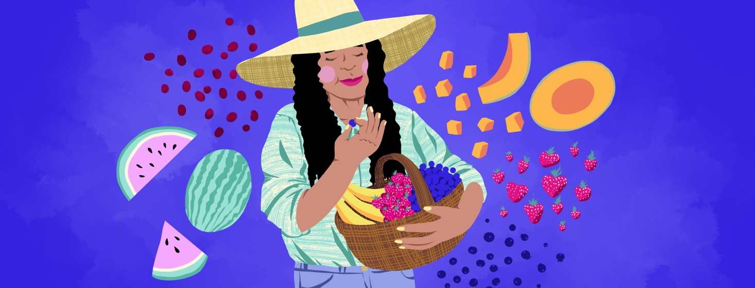 A woman contentedly munches on a berry with her eyes closed, while she carries a basket of other berries and is surrounded by other floating fruits.