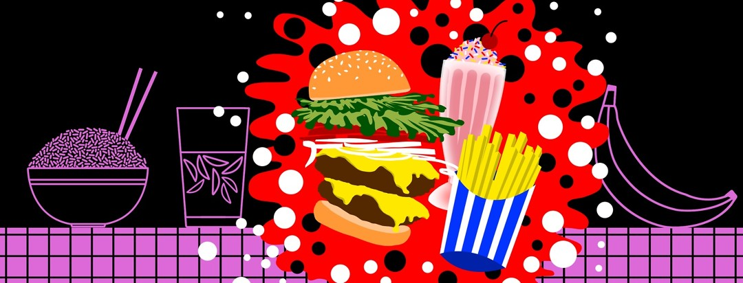 A bowl of rice, a glass of water, and a banana are in outline in the background, and a in a burst of full color a burger, fries and a milkshake interrupt the outlined foods.