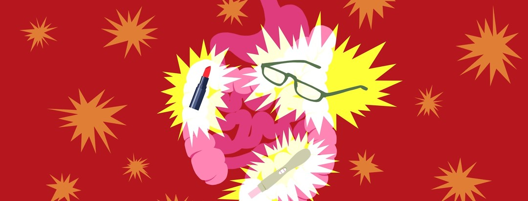 A GI tract is show with aggravated bursts of color around a tube of lipstick, a pair of reading glasses, and a pregnancy test.