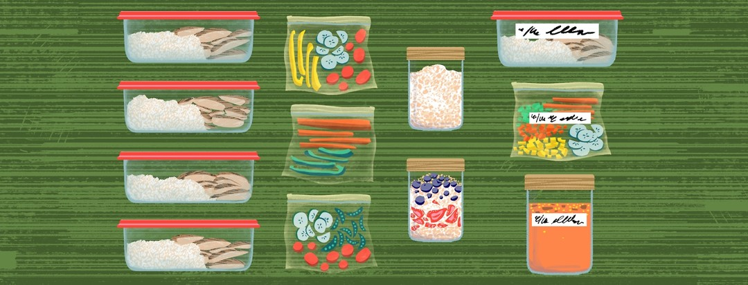 One column shows chicken and rice packed into four matching glass containers, one shows baggies of sliced veggies, the next shows oats and parfaits in jars, and the last column contains various foods in various containers, labeled for the freezer.
