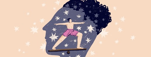 The silhouette of a man's face in profile with stars on it also contains the figure of a man doing the warrior pose, balancing on a wooden plank.