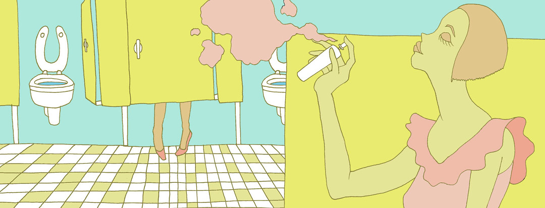 A woman sprays a pink air freshener in a public bathroom. A bathroom stall with two legs coming out of the bottom is visible.