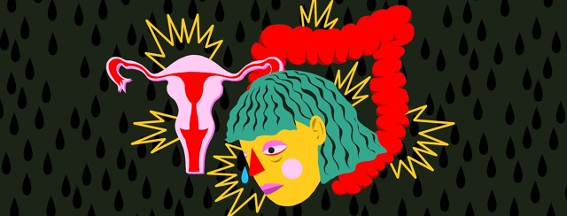 A sad woman's face is arranged on top of illustrations of a uterus and large intestine. Burts of pain emit from each of the illustrations.