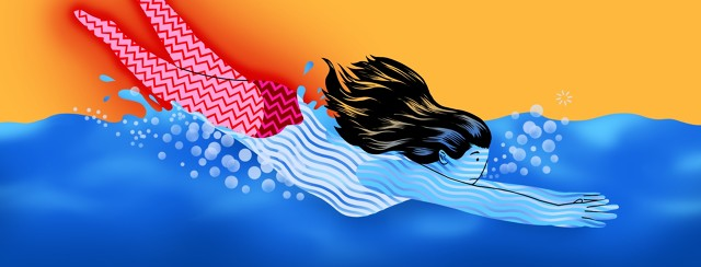 A woman dives into a pool of water. The part of her body that is submerged has a soothing pattern of wavy lines. The part of her body exposed to the air has a jagged zigzag line on it.