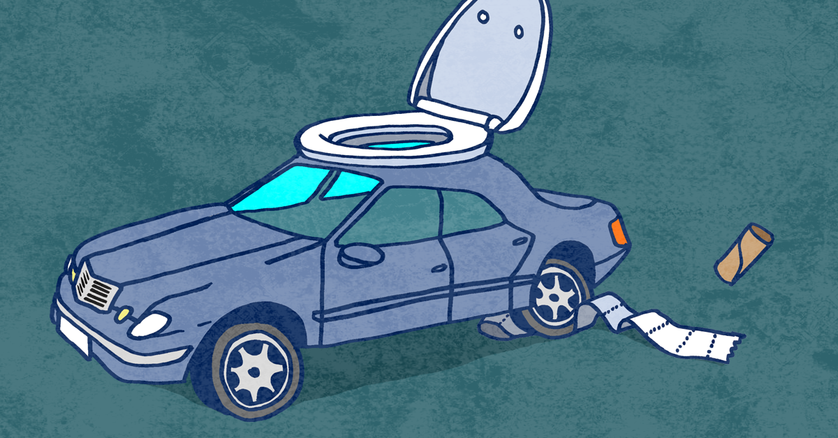 A car is fashioned with a toilet seat on top. Toilet paper trails underneath one of the tires.