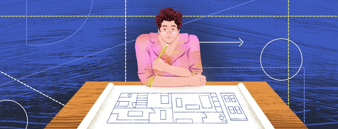 A person sits at a desk with a blueprint spread out in front of them. The background shows dotted lines and geometric shapes.