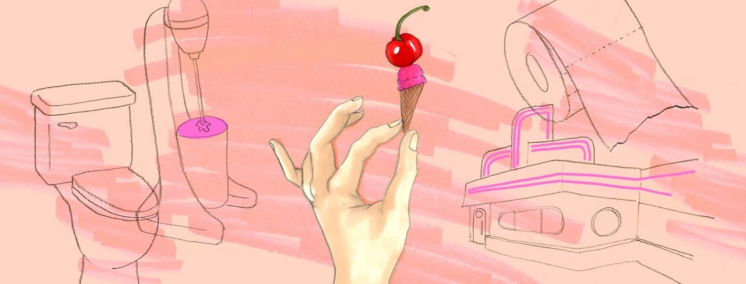 A hand holds a very small ice cream cone with a normal-sized cherry on top. Also featured is a toilet, milkshake mixer, old-fashioned diner, and a roll of toilet paper.