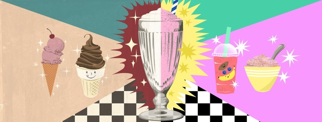 A glass filled with half milkshake, half smoothie. To the left of the milkshake half are vintage drawings of a cake cone and a sugar cone, both with ice cream in them. To the right of the smoothie side is a more modern drawing of a smoothie in a plastic cup and smoothie in a bowl.