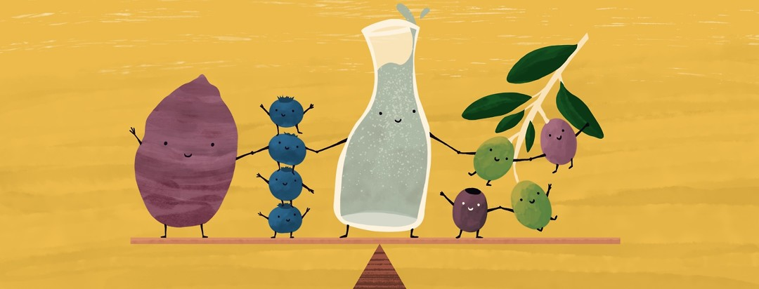 A sweet potato, a stack of blueberries, a carafe of water, and a branch of olives all have smiling faces and are holding hands as they stand balanced on a seesaw.