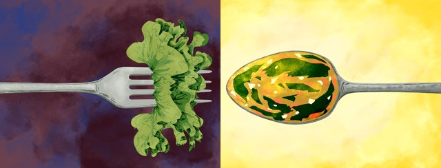 On the left is a fork with leafy green on it. On the right is a spoon filled with soup containing cooked leafy greens.