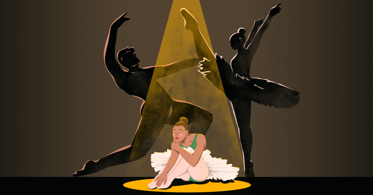 A sad ballerina sits on the floor with her eyes closed as a spotlight shines down on her. Behind her are the silhouettes of two other ballerinas dancing aggressively at each other.