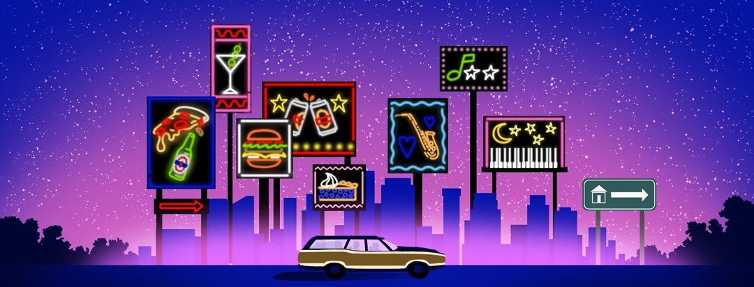 A stationwagon full of people drives down a road with a cityscape in the background. Neon signs of food are on one end of the cityscape and neon signs for music are at the other end. The last sign is a road sign with an arrowing pointing home.