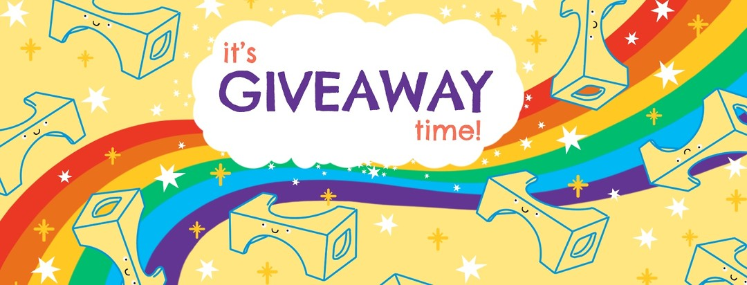 "Drawings of smiling Squatty Potties swirl around a cloud that says ""It's giveaway time!"" A rainbow runs through the background among sparkles."