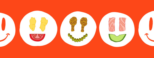 Several different meals on plates form into smiley faces.